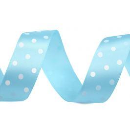 Saténová stuha s bodkami šírka 23 mm modrá nezábudková 10m Stoklasa