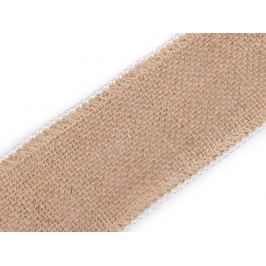 Jutová stuha s perličkami šírka 65 mm režná príodná 1m Stoklasa