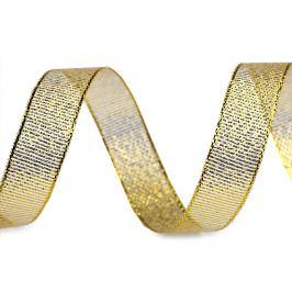 Brokátová stuha s lurexom šírka 15 mm zlatá 22.5m Stoklasa