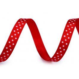 Saténová stuha s bodkami šírka 10 mm červená 22.5m Stoklasa