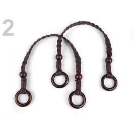 Rúčky na tašky preplietané dĺžka 48-50 cm s krúžkami hnedá tm. 2ks Stoklasa