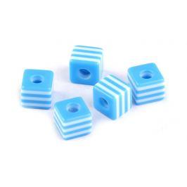 Plastové koráliky s prúžkom kocka 9x10x10 mm modrá blankytná 50ks Stoklasa