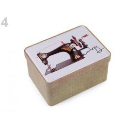 Plechová krabička na šitie béžová tm. 1ks Stoklasa