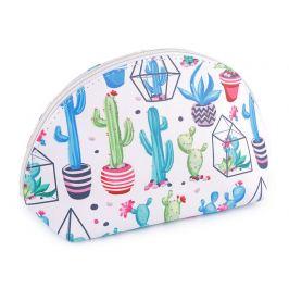 Kozmetická taška kaktusy a sukulenty 14,5x25 cm biela 1ks Stoklasa