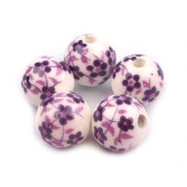 Porcelánové koráliky s kvetmi Ø12 mm fialová tm. 5ks Stoklasa