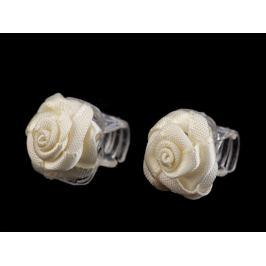 Štipec do vlasov malý 10x13-15 mm s ružičkou krémová najsvetl 10ks