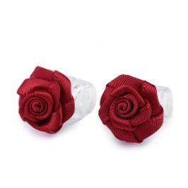 Štipec do vlasov malý 10x13-15 mm s ružičkou červená tm. 10ks