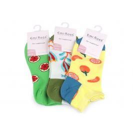 Dámske bavlnené ponožky členkové, obrázkové mix náhodných variant 3pár