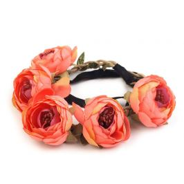 Pružná čelenka do vlasov s kvetmi ružová sýta 1ks Stoklasa