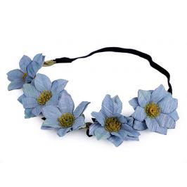 Pružná čelenka do vlasov s kvetmi modrá 1ks Stoklasa