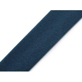 Saténový šikmý prúžok šírka 15mm,zažehlený modrá tmavá 20m Stoklasa