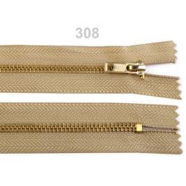 Kovový  /  mosadzný zips šírka 4 mm dĺžka 14 cm nohavicový Prairie Sand 100ks Stoklasa