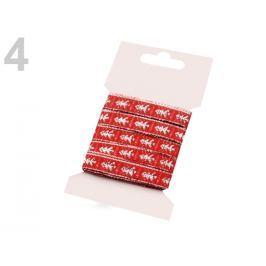Vianočná stuha šírka 10 mm s lurexom a stromky červená 1kar.