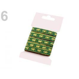 Vianočná stuha šírka 10 mm s lurexom a stromky zelená trávová 1kar.