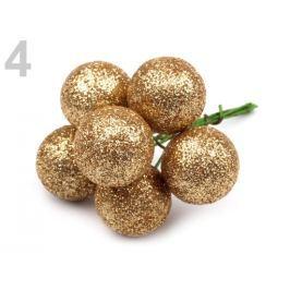 Dekorácia bobuľa Ø20 mm s glitrami zlatá 6ks
