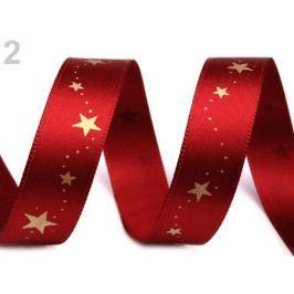 Vianočná stuha hviezdy šírka 15 mm Garnet 20m