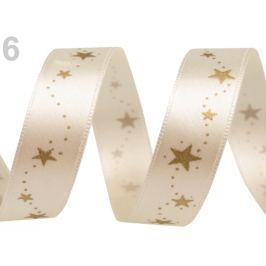 Vianočná stuha hviezdy šírka 15 mm Antique White 20m