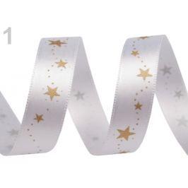 Vianočná stuha hviezdy šírka 15 mm White 180m
