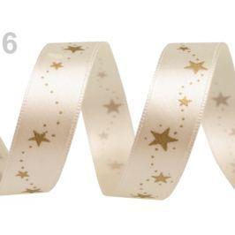 Vianočná stuha hviezdy šírka 15 mm Antique White 180m
