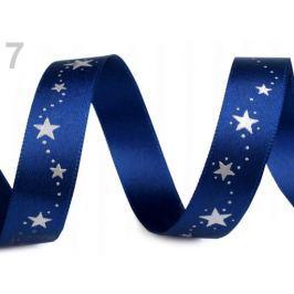 Vianočná stuha hviezdy šírka 15 mm Mazarine Blue 180m