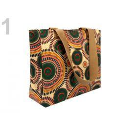 Textilná taška 30x35 cm potlač mandaly béžová tm. 4ks Stoklasa