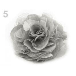 Brošňa / ozdoba ruža Ø9 cm šedá sv. 1ks Stoklasa