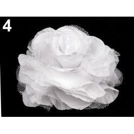 Brošňa / ozdoba ruža Ø9 cm biela 10ks Stoklasa