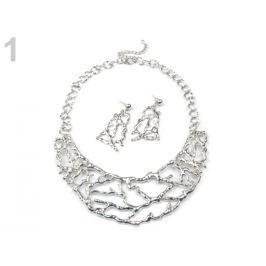 Kovový náhrdelník a náušnice sada strieborná 1sada Stoklasa