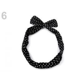 Látková čelenka do vlasov s drôtom čierna 1ks Stoklasa