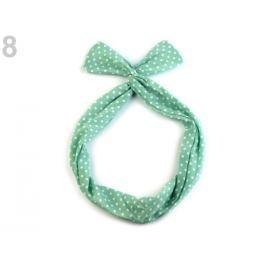 Látková čelenka do vlasov s drôtom zelená ľadovo 1ks Stoklasa