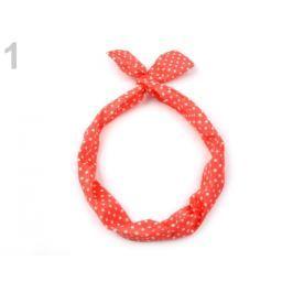 Látková čelenka do vlasov s drôtom korálová sv. 36ks Stoklasa