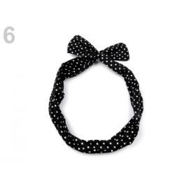 Látková čelenka do vlasov s drôtom čierna 36ks Stoklasa