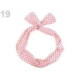 Látková čelenka do vlasov s drôtom ružová lastúrová 36ks Stoklasa