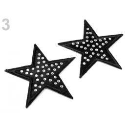 Nažehlovačka hviezda s kamienkami čierna 2ks Stoklasa