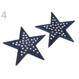 Nažehlovačka hviezda s kamienkami modrá temná 100ks Stoklasa