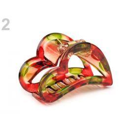 Štipec do vlasov 4x6,2 cm srdce červená  48ks Stoklasa
