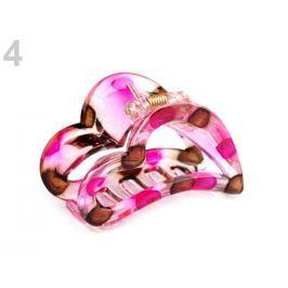 Štipec do vlasov 4x6,2 cm srdce fuchsiová 48ks Stoklasa