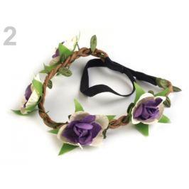 Pružná čelenka do vlasov s kvetmi fialová gebera 1ks Stoklasa