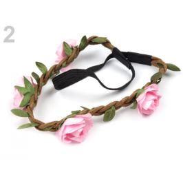 Pružná čelenka do vlasov s ružami ružová sv. 1ks Stoklasa