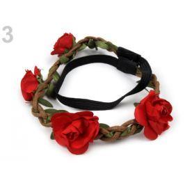 Pružná čelenka do vlasov s ružami červená  1ks Stoklasa