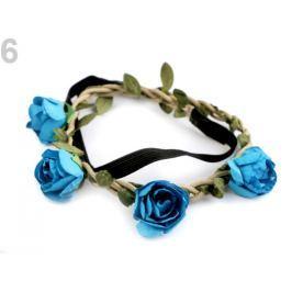Pružná čelenka do vlasov s ružami modrá detská 1ks Stoklasa