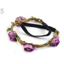 Pružná čelenka do vlasov s ružami fialová sv. 6ks Stoklasa