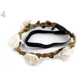 Pružná čelenka do vlasov s ružami biela 20ks Stoklasa
