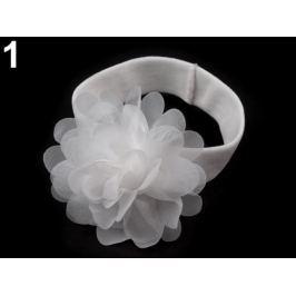 Detská elastická čelenka do vlasov s kvetom biela 1ks Stoklasa