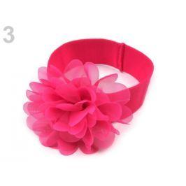 Detská elastická čelenka do vlasov s kvetom malinová 12ks Stoklasa