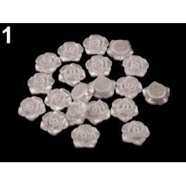 Plastová ružička  s prievlakomØ13 mm biela perleť 20ks Stoklasa