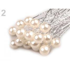 Vlásenka s perlou Ø10 mm smetanová 2ks Stoklasa