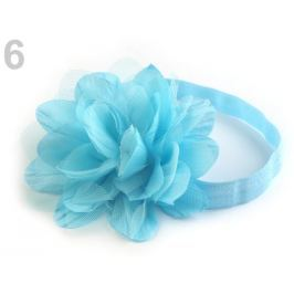 Pružná čelenka do vlasov s kvetom modrá nezábudková 1ks Stoklasa