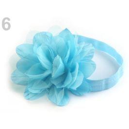 Pružná čelenka do vlasov s kvetom modrá nezábudková 12ks Stoklasa