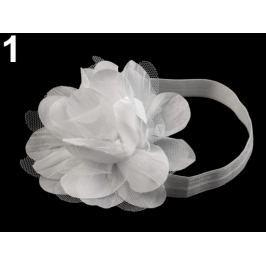 Pružná čelenka do vlasov s kvetom biela 36ks Stoklasa